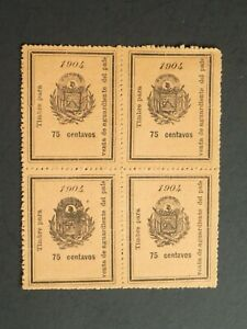 1904 El Salvador block of (4) MNGAI Fiscal Revenue 75 c Brandy Duty stamps