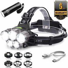 New 90000LM 5X XML T6 LED Headlamp Rechargeable Head Light Flashlight Torch Lamp