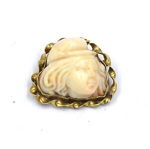 VINTAGE RAISED CARVED CAMEO PIN/BROOCH PENDANT CAPPED WOMAN PROFILE 14K GOLD