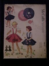 1953 McCall's Child's Suspender Skirt w/ Buttoned-In Petticoat Pattern, 1817