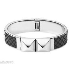Michael Kors Hinged Pyramid Bangle Bracelet Black Glam Rock Stainless NWT