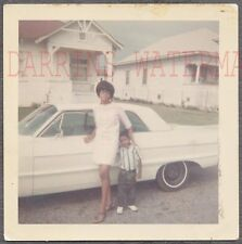 Vintage Car Photo Pretty Girl & Cute Boy 1964 Chevrolet Impala Automobile 750551