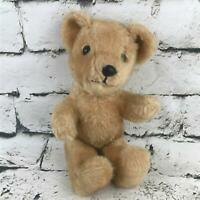 Vintage 70's Teddy Bear Plush Light Brown Sitting Stuffed Animal Classic Toy