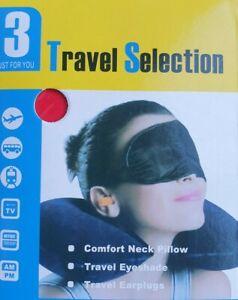 Travel Selection 3 Pc Travel Kit -Inflatable Neck Pillow, Eyeshade, Earplugs NEW