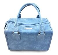 Vintage Samsonite Sonora Blue Train Travel Carry Case Tote Soft Sided Luggage