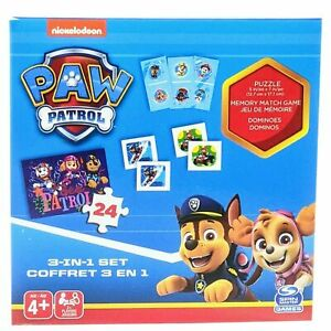 Nickelodeon Paw Patrol 3in1 Set 24 pc Puzzle Memory Game Dominoes NEW Free Ship!
