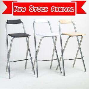 Folding Compact High Chair Breakfast Bar Stool Square Seat Home Kitchen Office