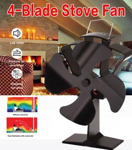 TOMERSUN 4 Blades Heat Powered Stove Fireplace Fan for Home Wood Log Burning Fir