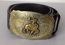 Ralph Lauren Polo Mens Belt Brown Medium Plaque Buckle Bull Rider Rodeo Leather
