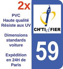 Sticker Autocollant plaque d'immatriculation Département 59 région Ch'ti Nord X2