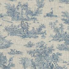 Textiles français Toile de Jouy Linen Fabric (La Grande Vie Rustique) Blue