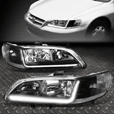 FOR 1998-2002 HONDA ACCORD PAIR BLACK HOUSING CLEAR CORNER HEADLIGHT W/LED DRL