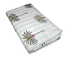 Hand Block Print Kantha Quilt Palm Tree kantha bed cover throw Indian Bedspread