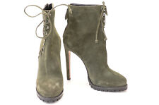 Alaia green L9 R9.5 suede stud criss cross lace up ankle boot shoe NEW $1550