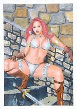 ORIGINAL PIN UP COMIC ART ILLUSTRATION PAINTING RED SONJA NON NUDE GIRL WOMAN