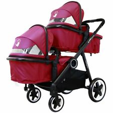 iSAFE Baby Lightweight Double Twin Tandem Pram Stroller Buggy inc Raincover