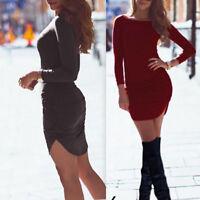 Damen Mini Kleid Langarm Bodycon Kleid Freizeit Abendkleid Party Strech S-2XL