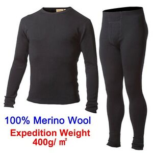Men 100% 400 g Merino Wool Outdoors Winter Sweater Thermal Warm Underwear Set