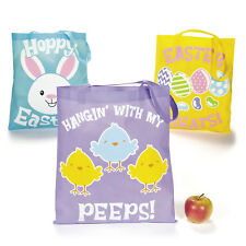 """6 BIG COLORFUL 15"""" Easter Bunny Tote Carry Bags Basket EGG HUNT chicks & eggs"""