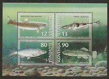 Slovenia MNH Souvenir Sheet of 4 Sc #290a. Endangered Fish