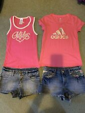2 Girls Sets Adidas Tops And Denim Shorts Size 9-10