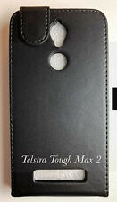 Telstra Tough Max 2 T85 Card Slot  Holder Leather Flip Pouch Case -Black