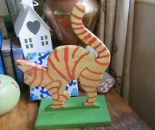 More details for cool charming vintage rustic hand made wooden cat figure folk art ooak curio