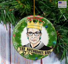 The Notorious RBG Christmas Ornament Green Wreath Ruth Bader Ginsburg ornament