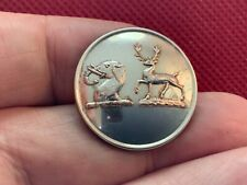 Antique Livery Button of a deer hart stag holding an arrow with two shells Pitt