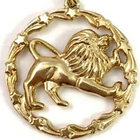 LEO CHARM ZODIAC JEWELRY THE LION GOLD TONE METAL VINTAGE ASTROLOGY CHARMS