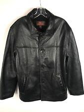 DANIER LEATHER Men's Black Button Closure Leather Jacket Size Small