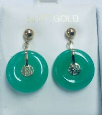Yellow Jade Chinese Good Luck 14k Solid Gold Earrings