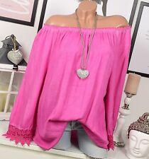CARMEN blouse tunique Crochet Vintage Extra-large HIPPIE cassé épaule Rose 40 42