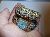 2 Heidi Daus Swarovski Crystal Gilt Brass Hinged Watch Cuff Bangle Bracelet