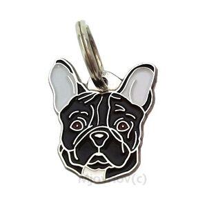 Dog id tag, French Bulldog - black, Personalised, Engraved, Handmade, Charm