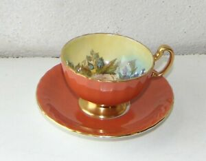 Aynsley Fine China Signed J A Bailey Cabbage Rose Cabinet Cup and Saucer Orange
