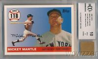 2006 Topps Home Run #118 Mickey Mantle w/WORN PANTS BECKETT 10 MINT GGUM