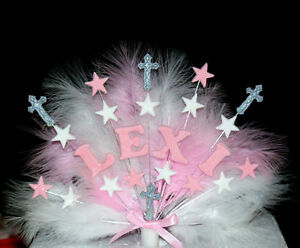 christening feathered cross custom cake topper / decoration personalised name