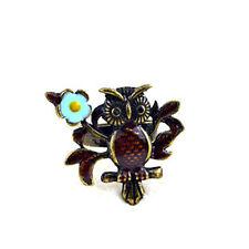 Adjustable vintage bronze glaze owl & flower charm ring
