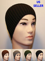 MEN'S FITTED ACRYLIC RIB KNIT BEANIE HAT - BLACK NAVY BLUE BROWN GREEN GRAY K2