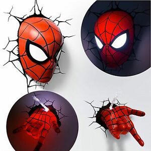 Marvel Avengers Spider Man Mask Head Face + Hand 3D Deco Wall LED Night Light