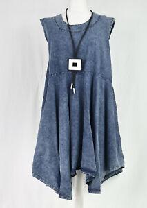 LA BASS 100% Cotton denim swing sleeveless dress size XL/XXL
