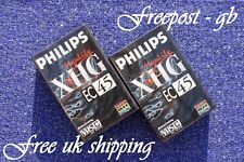 2 x PHILIPS EC-45  VHS-C VIDEO CAMCORDER TAPES / CASSETTES EXTRA HIGH GRADE