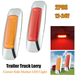 2PC Corner Side Marker LED Lights Outline Lamp For Truck Trailer Van Bus 12V-24V