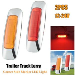 2PC Corner Side Marker LED Lights Outline Lamp For Truck Trailer Van Bus 12V-24V