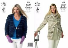 "King Cole  Super Chunky  Knitting Pattern 3592: Jackets & Snood 32""-42"""