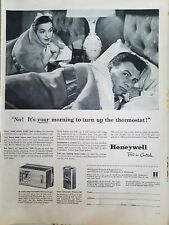 1952 Honeywell thermostat controls man woman bed blankets ad