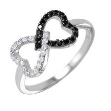 925 STERLING SILVER LADIES OPEN TWIN HEART RING W/ DIAMONDS/ SIZE 5,6,7,8,9