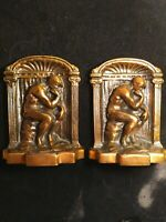 """Vintage Bronze Bookends, Cast Iron  The Thinker 5.25""""x4""""x2"""" Antique Bookends"""