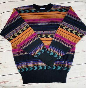 Vintage Meister Mens Sweater Sz XL Black Orange Wool Blend Fair Isle Stripe